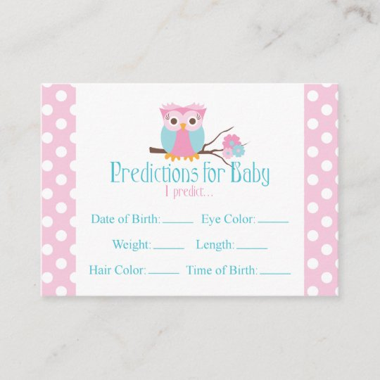 Pink Owl Predictions Baby Shower Card Large Zazzle Com