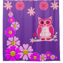 Pink owl purple shower curtain