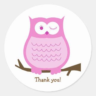 PINK OWL Round Favor Sticker | Envelope Seal