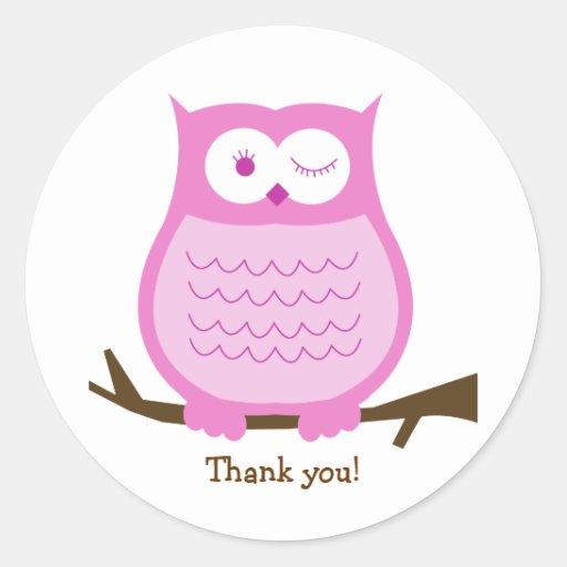 PINK OWL Round Favor Sticker   Envelope Seal