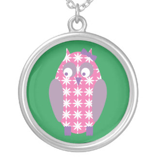 Pink Owl Round Pendant Necklace