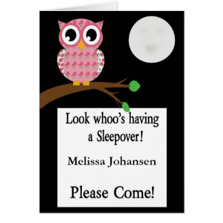 Pink Owl Sleepover Invitation