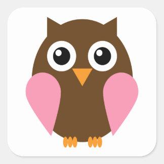 Pink Owl Square Sticker
