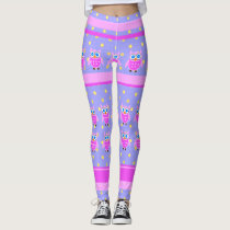 Pink Owl Stripe Pattern Leggings