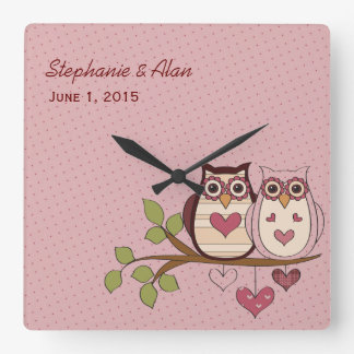 Pink Owl Sweethoots Wedding Clock
