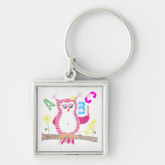 Pink owl teacher keychain