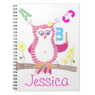 Pink owl teacher notebook