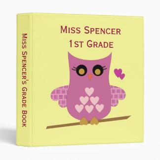 Pink Owl Teacher s Grade Book Binder