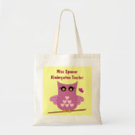 Pink Owl Teacher's Tote Bag
