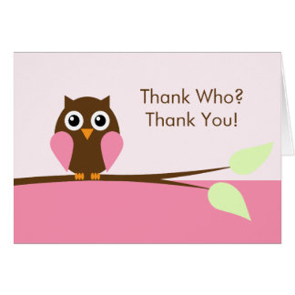 Pink Owl Thank You Cards