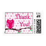 Pink Owl Thank You Postage