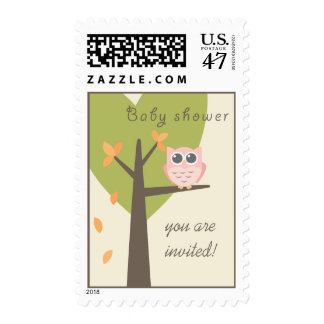 Pink Owl Tree Branch Baby Girl Fall Baby Shower Postage