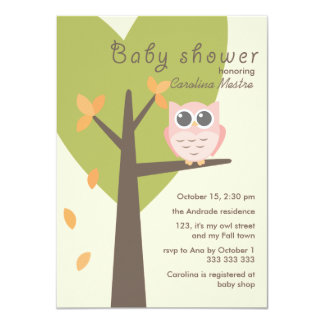 Pink Owl Tree Branch Leaves Autumn Baby Shower 4.5x6.25 Paper Invitation Card