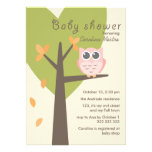 Pink Owl Tree Branch Leaves Autumn Baby Shower Personalized Announcements