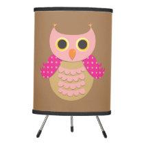 Pink Owl Tripod Lamp