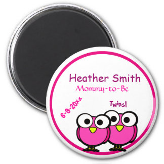 Pink Owl Twins Mommy To Be Baby Shower Magnet