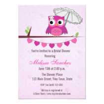 Pink Owl, Umbrella, Bridal Shower Invitation