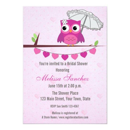 Pink Owl, Umbrella, Bridal Shower Invitation