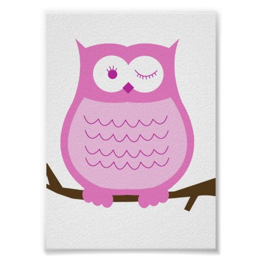 PINK OWL Wall Art Kids Decor Print
