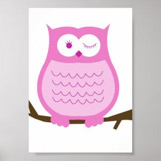 PINK OWL Wall Art Kids Decor Print