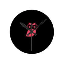 Pink Owl Wall Clock