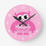Pink owl wall clock with baby name for nursery