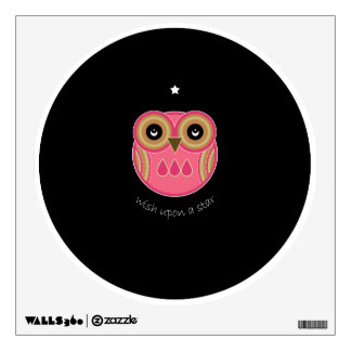 Pink Owl Wall Decal - Wish Upon A Star Pink Owl