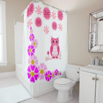 Pink owl white shower curtain