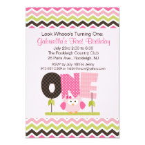 Pink Owl Who's turning One Birthday Invitation