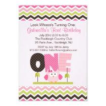 Pink Owl Who's turning One Birthday Invitation
