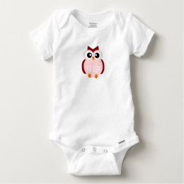 Pink Owl with Big Eyes Baby Onesie