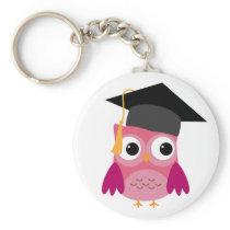 Pink Owl with Graduation Cap Keychain