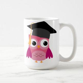Pink Owl with Graduation Cap Mug Basic White Mug