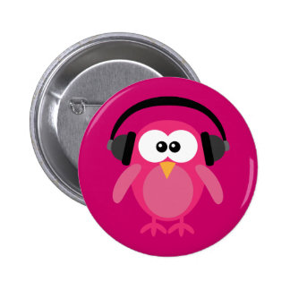 Pink Owl With Headphones 2 Inch Round Button