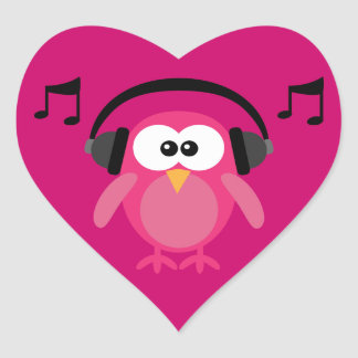 Pink Owl With Headphones & Musical Notes Heart Sticker