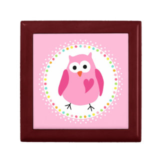 Pink owl with heart and colourful polka dot border gift boxes