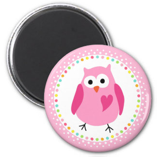 Pink owl with heart and colourful polka dot border 2 inch round magnet
