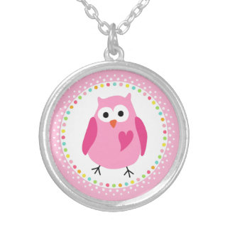 Pink owl with heart and colourful polka dot border jewelry