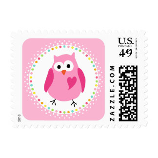 Pink owl with heart and colourful polka dot border postage
