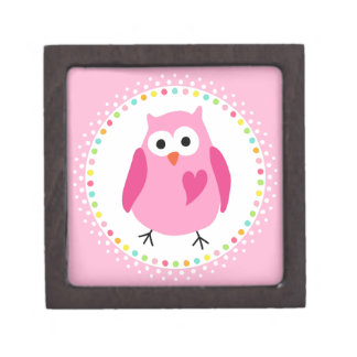Pink owl with heart and colourful polka dot border premium keepsake box