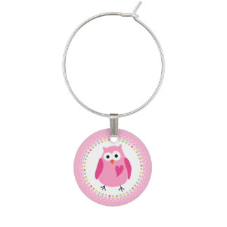 Pink owl with heart and colourful polka dot border wine glass charm
