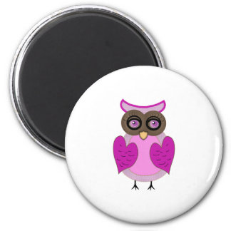 Pink Owl with Purple Heart Wings by ©dollface766 Magnet