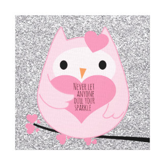 Pink Owl with Silver Sparkles and Quote Canvas Print
