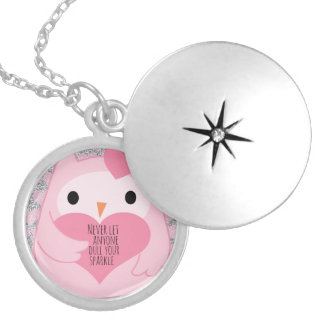 Pink Owl with Silver Sparkles and Quote Locket Necklace