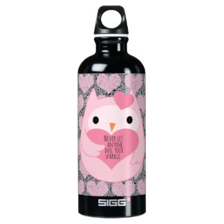 Pink Owl with Sparkle Quote SIGG Traveler 0.6L Water Bottle