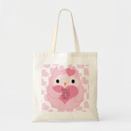 Pink Owl with Sparkle Quote Tote Bag