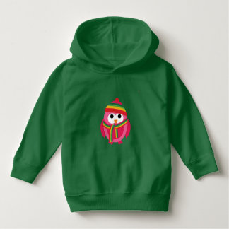 Pink Owl With Striped Green Hat and Scarf Hoodie