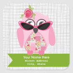 Pink Owl With Sunglasses Address Sticker