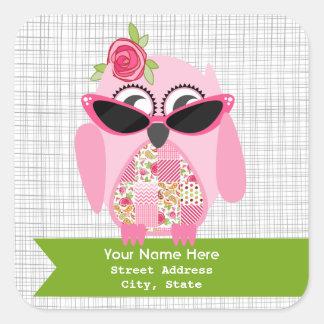 Pink Owl With Sunglasses Address Sticker