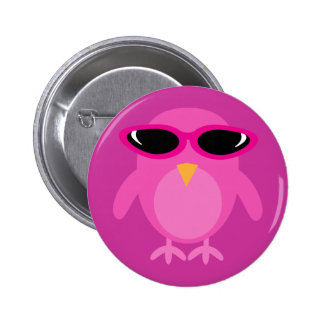 Pink Owl With Sunglasses Button